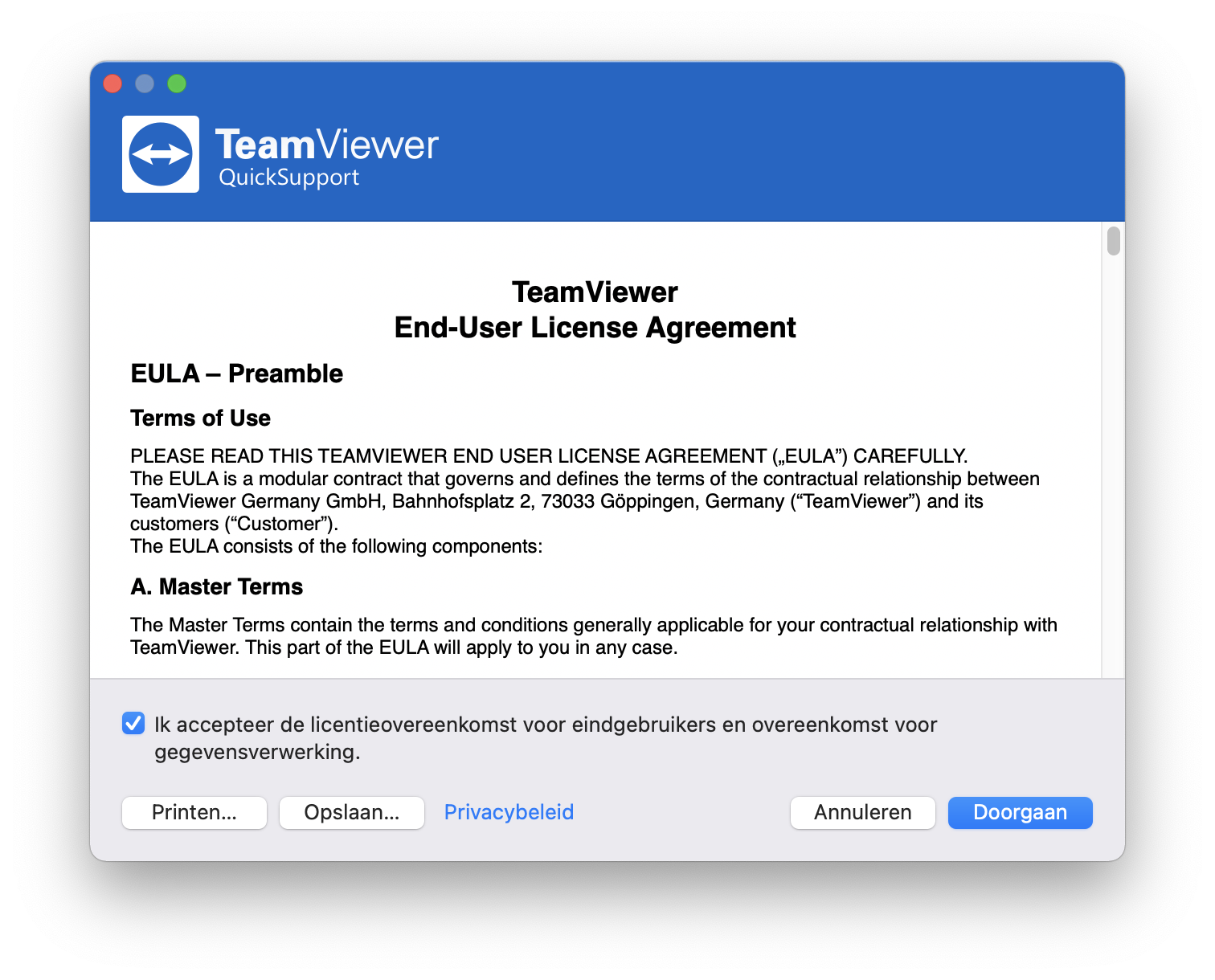 Stap 4: Bevestig de License Agreement